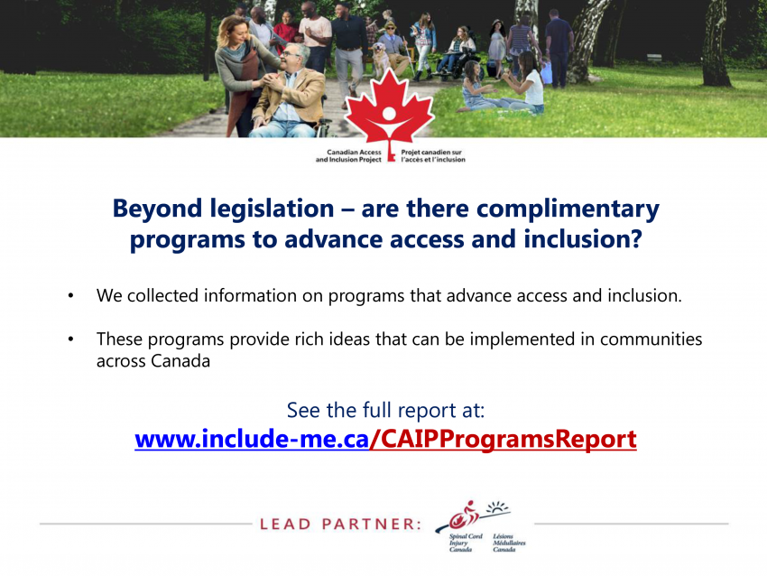 Beyond legislation – are there complimentary programs to advance access and inclusion?
