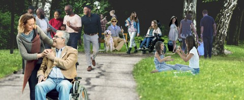 Many people with and without disabilities in a park setting.