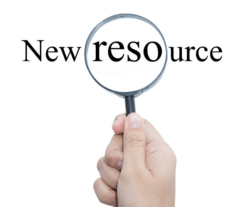 A magnifying glass highlighting the words New Resource