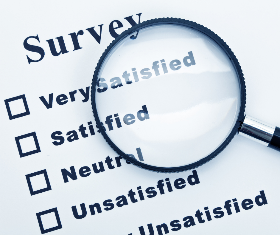 A magnifying glass highlighting a survey question of very satisfied, satisfied, neutral, unsatisfied.