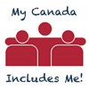 a simple design of three people hugging each other in support with My Canada Includes Me written around them